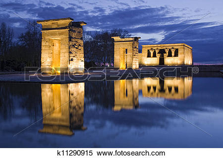Stock Image of Egyptian temple reflection at night k11290915.