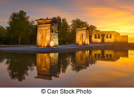 Stock Photo of The Temple of Debod in Madrid at sunset.