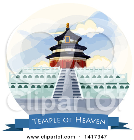 Clipart of the Temple of Heaven in China.