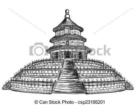 Stock Illustration of cg painting Temple of Heaven hand draw.