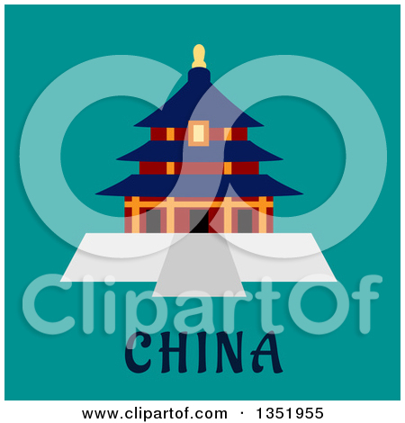 Clipart of a Flat Design Ancient Chinese Temple of Heaven Pagoda.