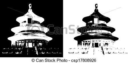Vector Illustration of Temple of Heaven Beijing.