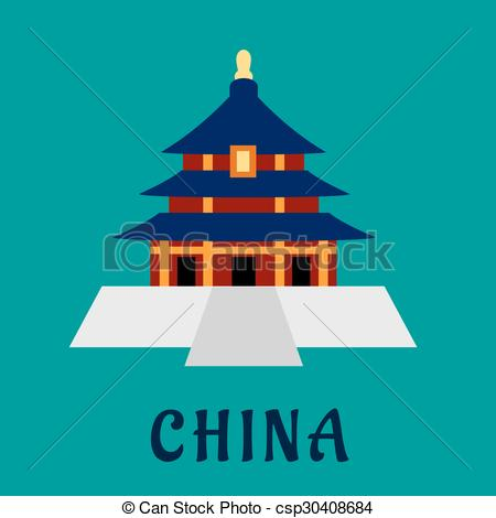 Vector of Ancient chinese Temple of Heaven with traditional pagoda.