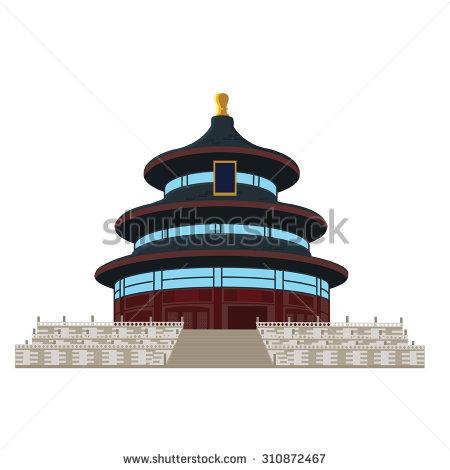 Temple Of Heaven In Beijing, China, Vector Illustration.