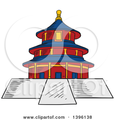 Clipart of a Sketched Chinese Ancient Temple of Heaven.