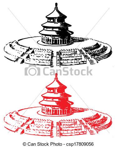 Clipart Vector of Temple of Heaven Beijing.