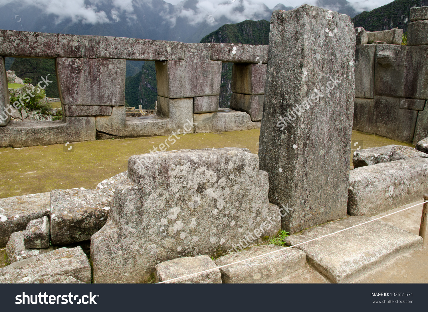 Temple Of The Three Windows On The Sacred Plaza In Machu Picchu.