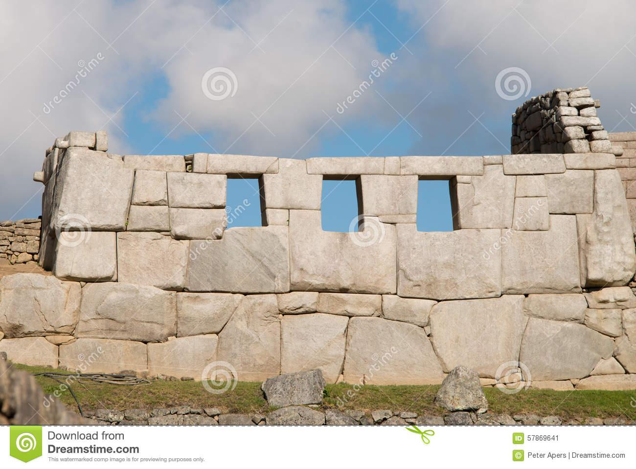 Temple Of Three Windows Machu Picchu Stock Photo.