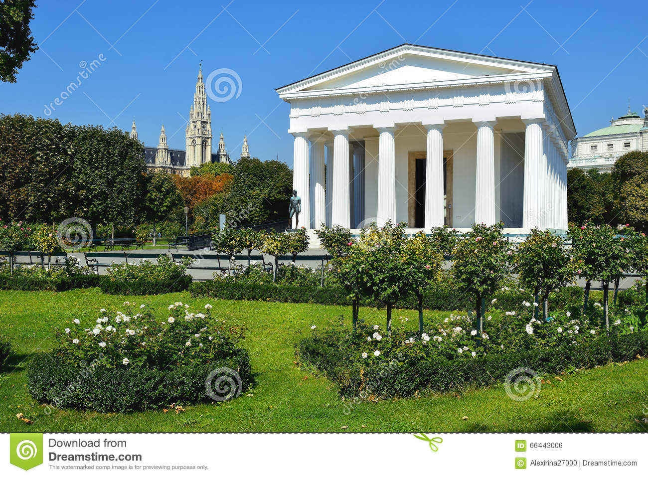 Temple Of Theseus In Vienna Volksgarten, Austria Stock Photo.