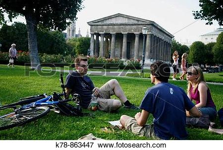 Picture of People sitting at Volksgarten park with the Temple of.
