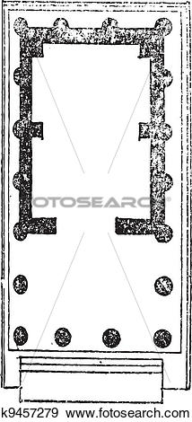 Clip Art of Floor Plan of the Temple of Venus and of Rome, vintage.