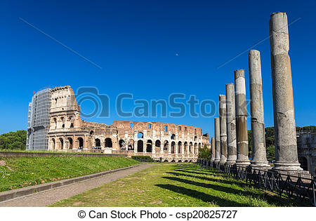 Stock Photo of View of Colosseum from Temple of Venus and Roma.