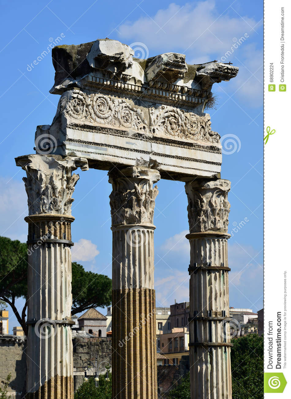 Temple Of Venus Genetrix Column In The Center Of Rome Stock Photo.