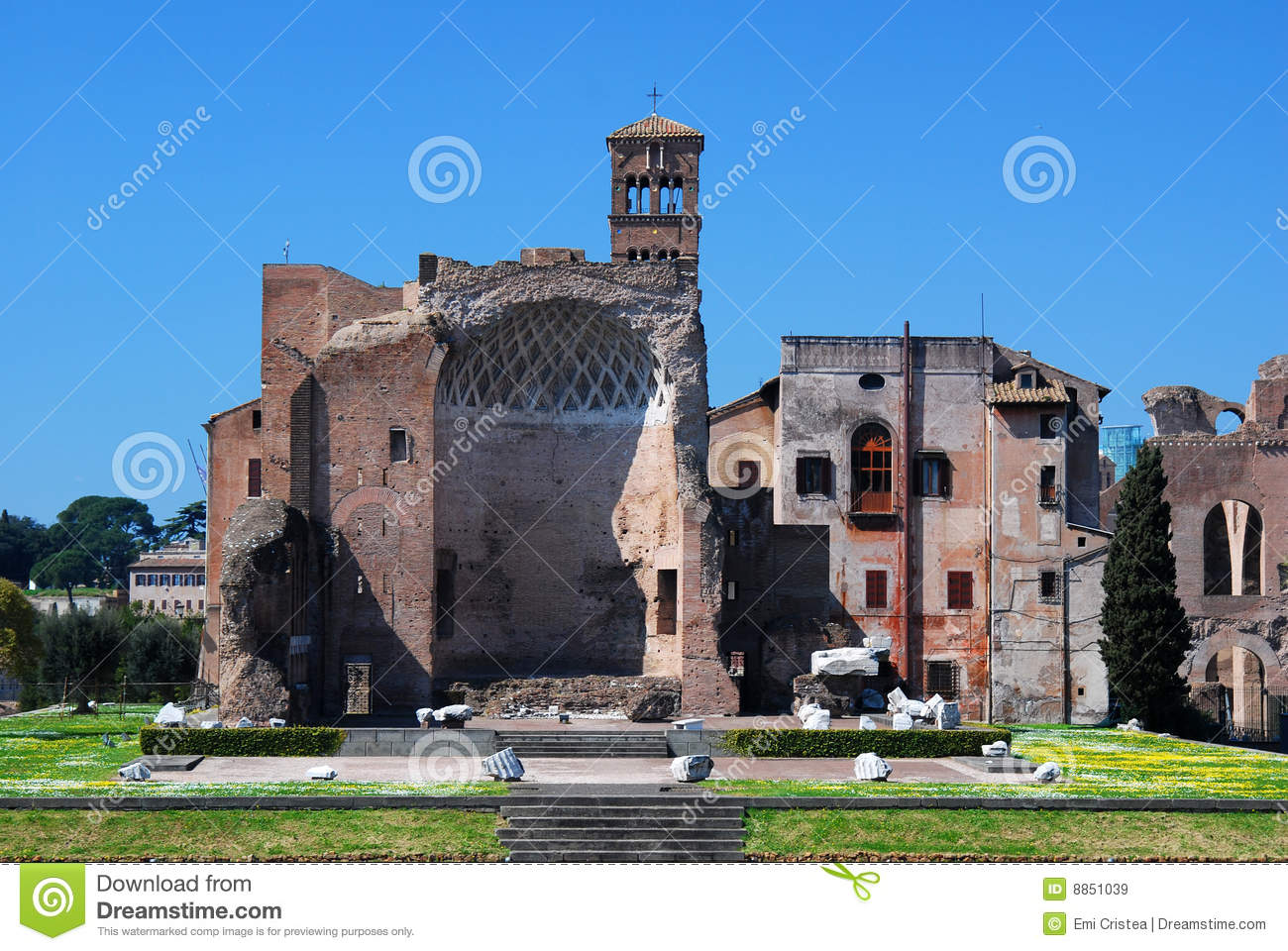 Roman Forum (Temple Of Venus And Roma) Royalty Free Stock Images.
