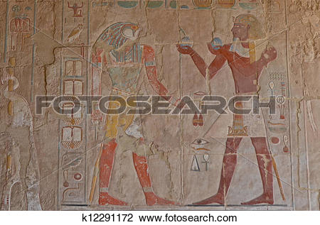 Clip Art of Relief in the Temple of Hatshepsut k12291172.
