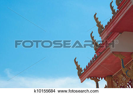 Stock Photo of gable apex on Thai temple roof k10155684.