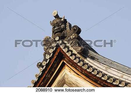 Stock Photography of Japanese temple roof edge and gargoyle; kyoto.