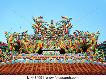 Stock Photography of Chinese temple roof tile with dragon.