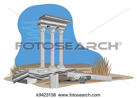 Clip Art of Antique Temple Ruins k9423158.