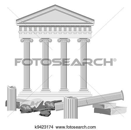 Clipart of Antique Temple Ruins k9423174.