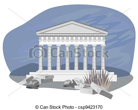 Vector Clipart of Antique Temple Ruins.