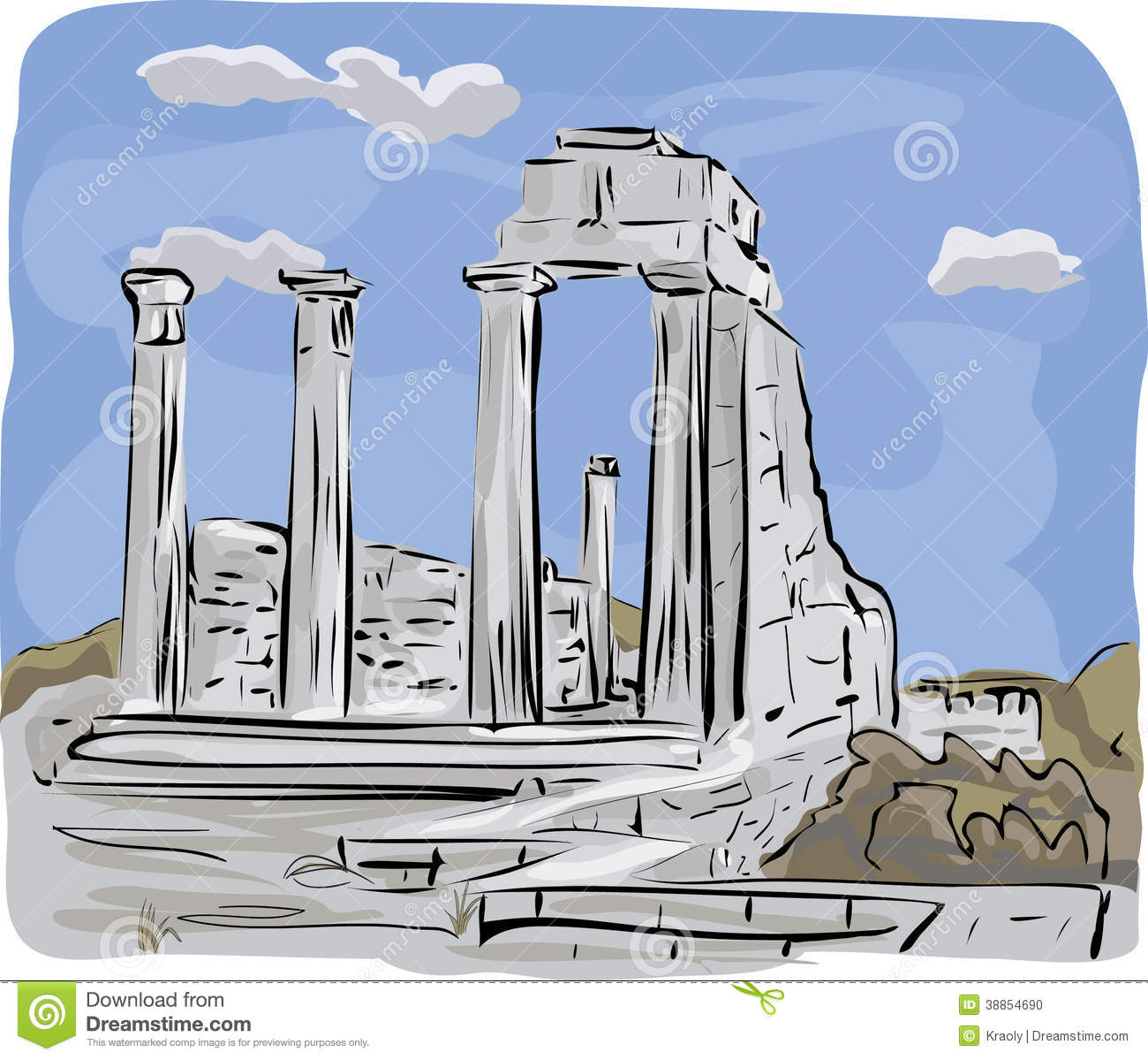 Ancient Temple Ruins Illustration Stock Vector.