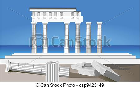EPS Vectors of Antique Temple Ruins.