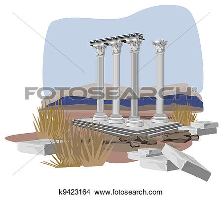 Clipart of Antique Temple Ruins k9423164.