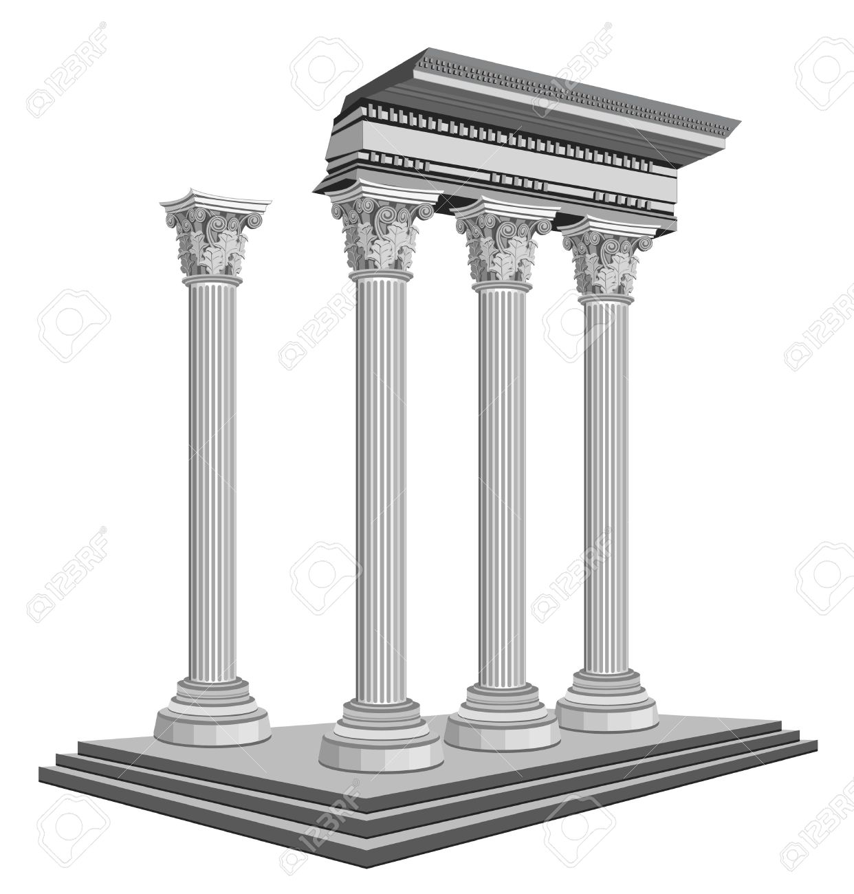Antique Temple Ruins, Isolated On White Background Royalty Free.