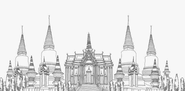 Line Drawing Thai Temple PNG, Clipart, Background, Drawing.