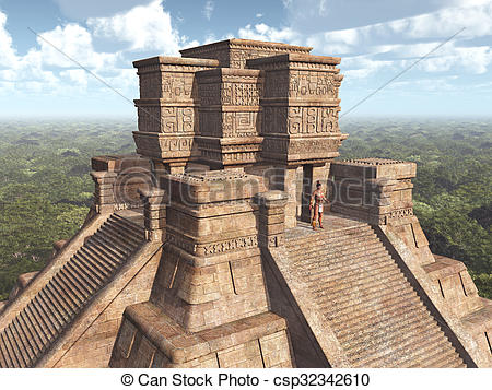 Clipart of Mayan Temple.