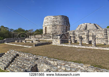 Stock Image of Round Temple, Mayapan Mayan archaeological site.