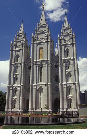 Stock Photo of Salt Lake City, UT, Utah, Temple Square, Mormon.