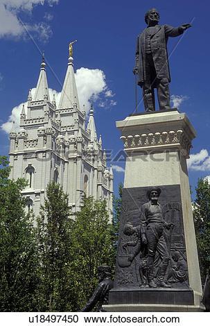 Stock Photography of UT, Utah, Salt Lake City, Temple Square.