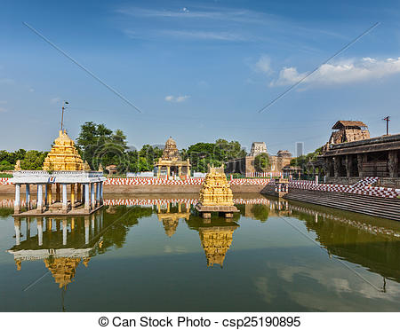 Stock Photographs of Temple tank of Hindu temple, India.