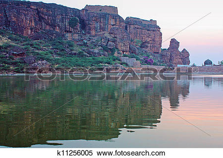 Stock Image of Bhutanatha temple across Agastyatirtha tank. Badami.