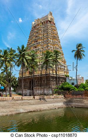 Picture of Gopura (tower) and temple tank of Lord.