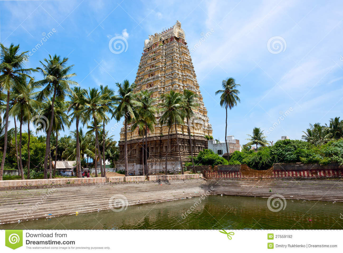 Tower And Temple Tank Of Indian Dravidian Temple Stock Photography.