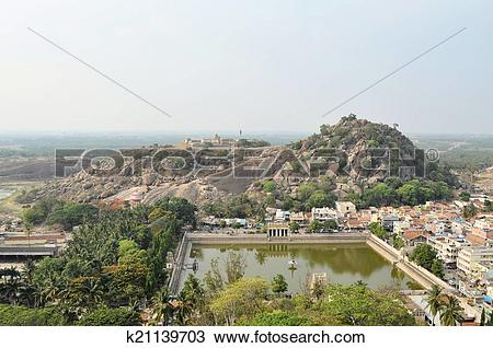 Stock Photo of Traditional Hindu temple with tank in India.