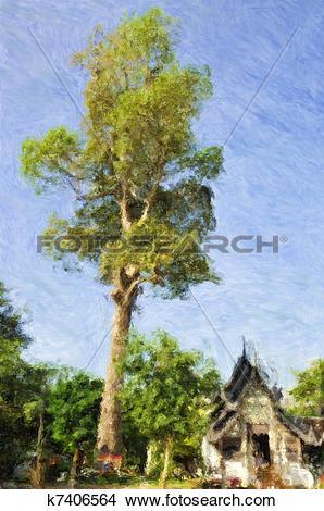 Drawings of Thai temple tree k7406564.