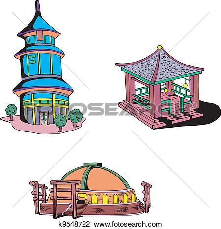 Clipart of Asian oriental temples k9548722.