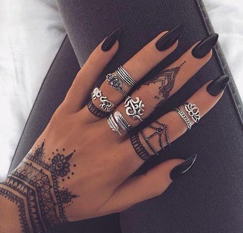 Black Henna Temporary Tattoos Ideas @ MyBodiArt.