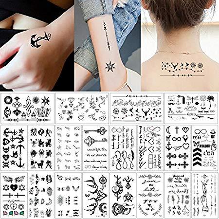 20 Sheets Fake Black Tiny Temporary Tattoo Body Sticker Hand Neck Wrist Art  Fashion.