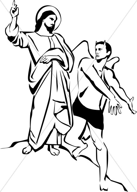 Temptation of Christ Clipart, Temptation of Jesus Clipart.