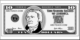 Clip Art: Ten Dollar Bill Grayscale Back I abcteach.com.