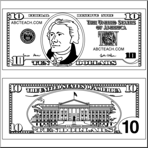 Clip Art: Ten Dollar Bill Outline I abcteach.com.