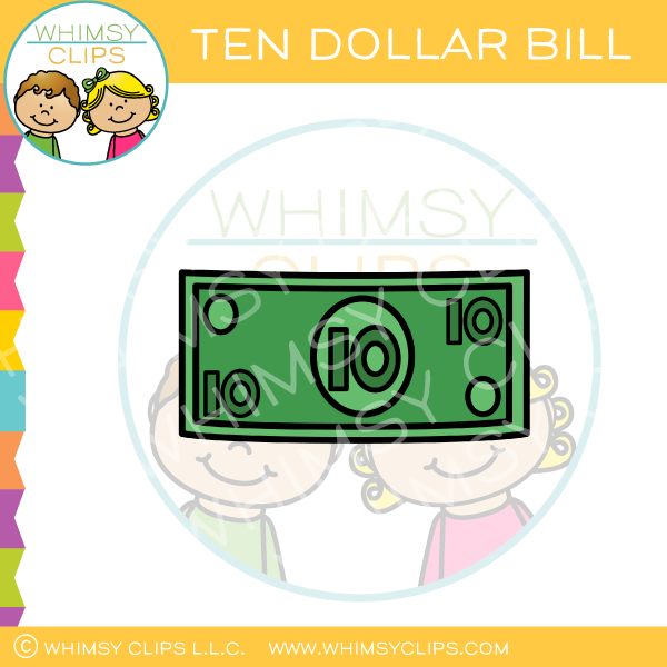 Plain Ten Dollar Bill Clip Art.