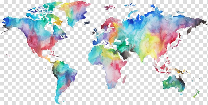 World map Watercolor painting, a full 10 minute practice of.