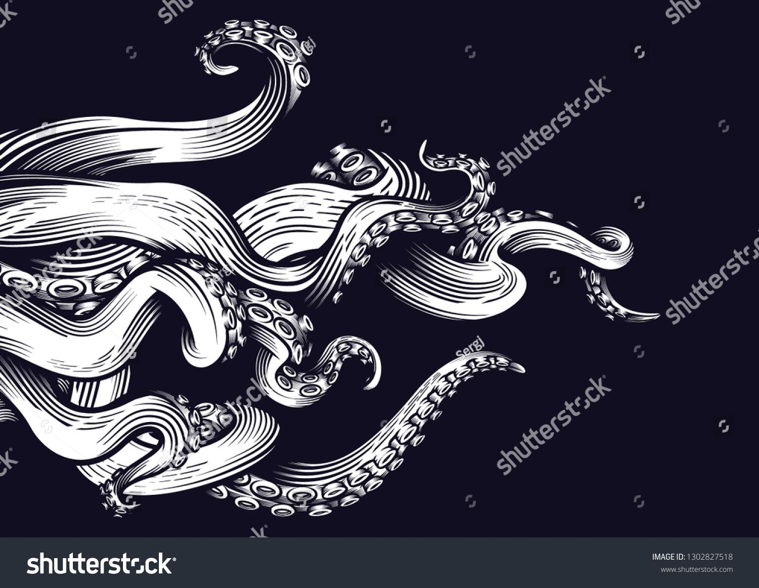 Tentacles of an octopus. Hand drawn vector illustration in.