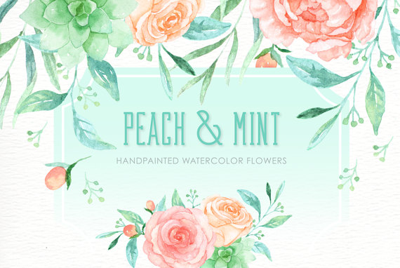 Peach and Mint Watercolor clipart hand drawn. by everysunsun.